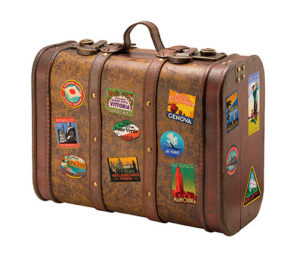 Old Suitcase Travel Stickers isolated on white with a clipping path